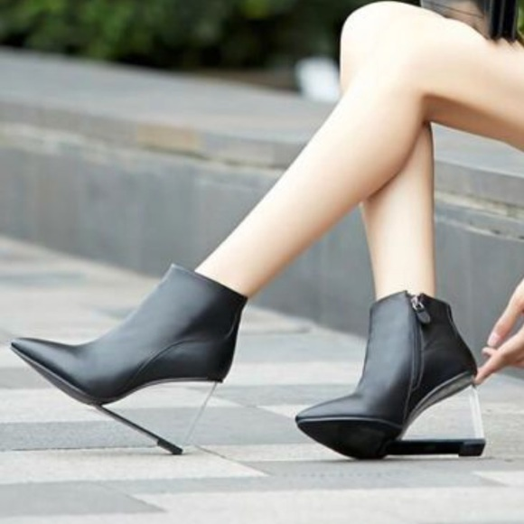 Black Clear Wedge Heel Boot   Poshmark